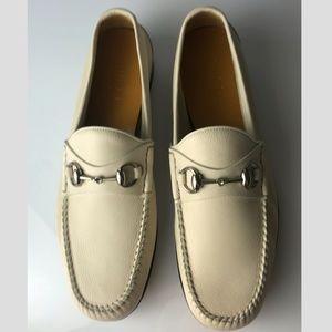 Gucci Hebron Horsebit Mystic White Loafers G9.5